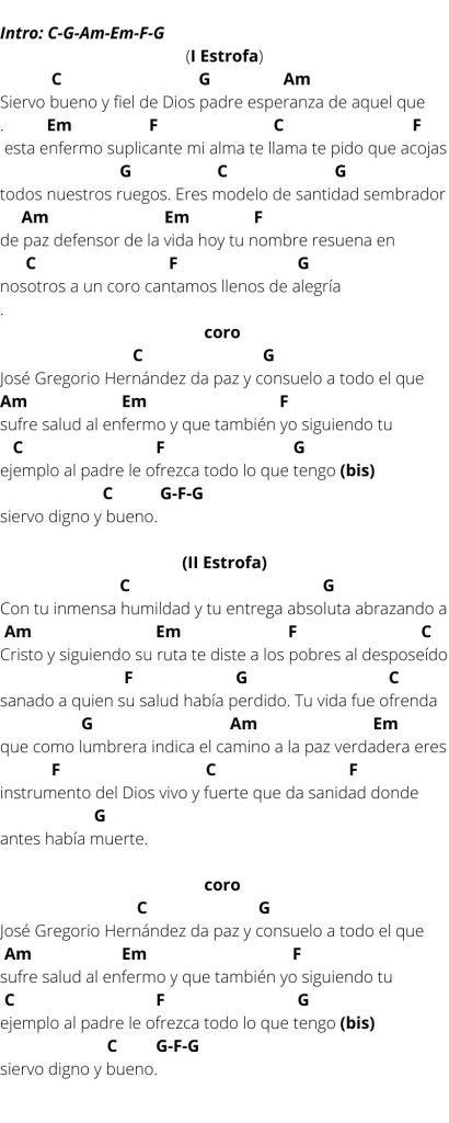 Canción (Himno)  al Doctor José Gregorio Hernández  (Audio- Letra y Acordes)
